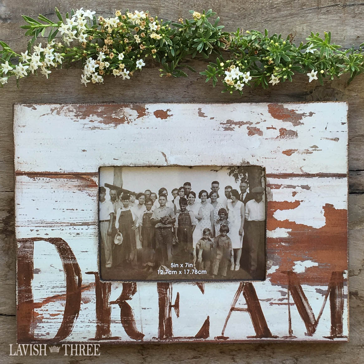 5x7 Country farmhouse distressed wood dream frame in shabby white Lavish three 3
