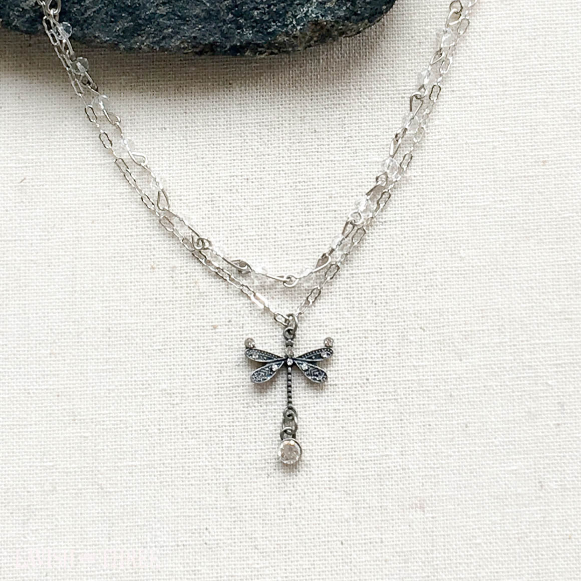 double short silver necklace with crystal embellished dragonfly charm, Lavish Three 3