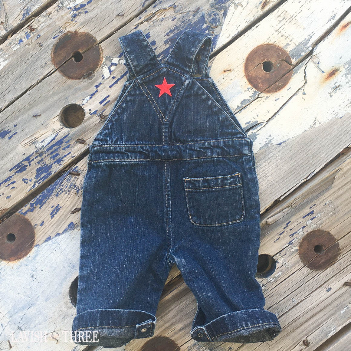 "The ""little All American kid"" denim overalls with eagle & flag"