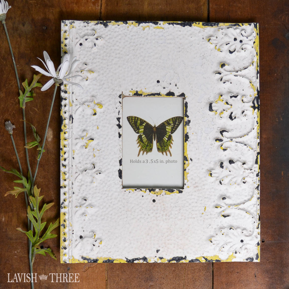 Shabby chic romantic vintage farmhouse embossed white metal frame hints of yellow