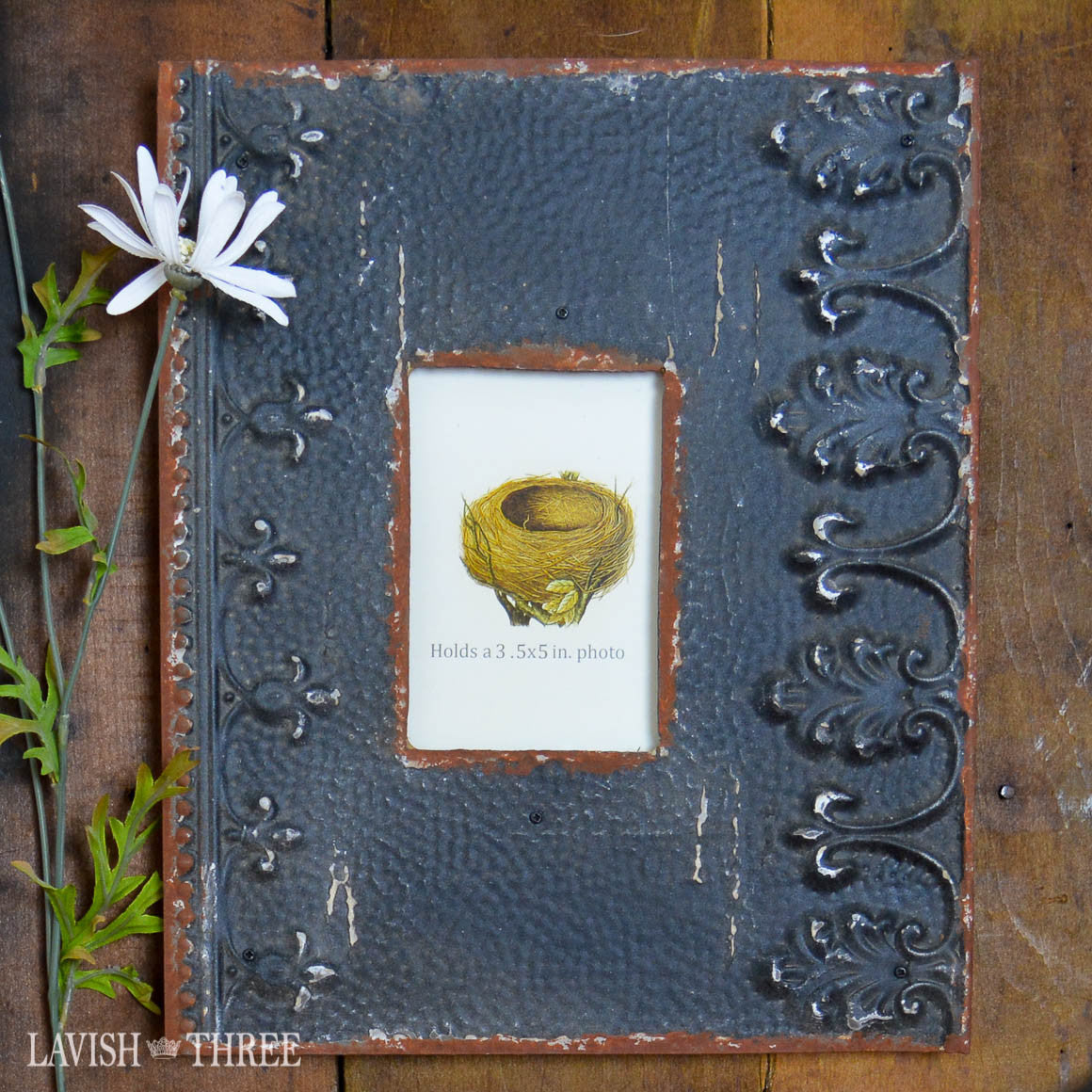 3x5 Embossed vintage metal shabby chic farmhouse frame in Charcoal Black