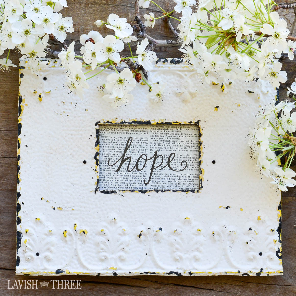 Beautiful country embossed metal picture frame in shabby chic white ...