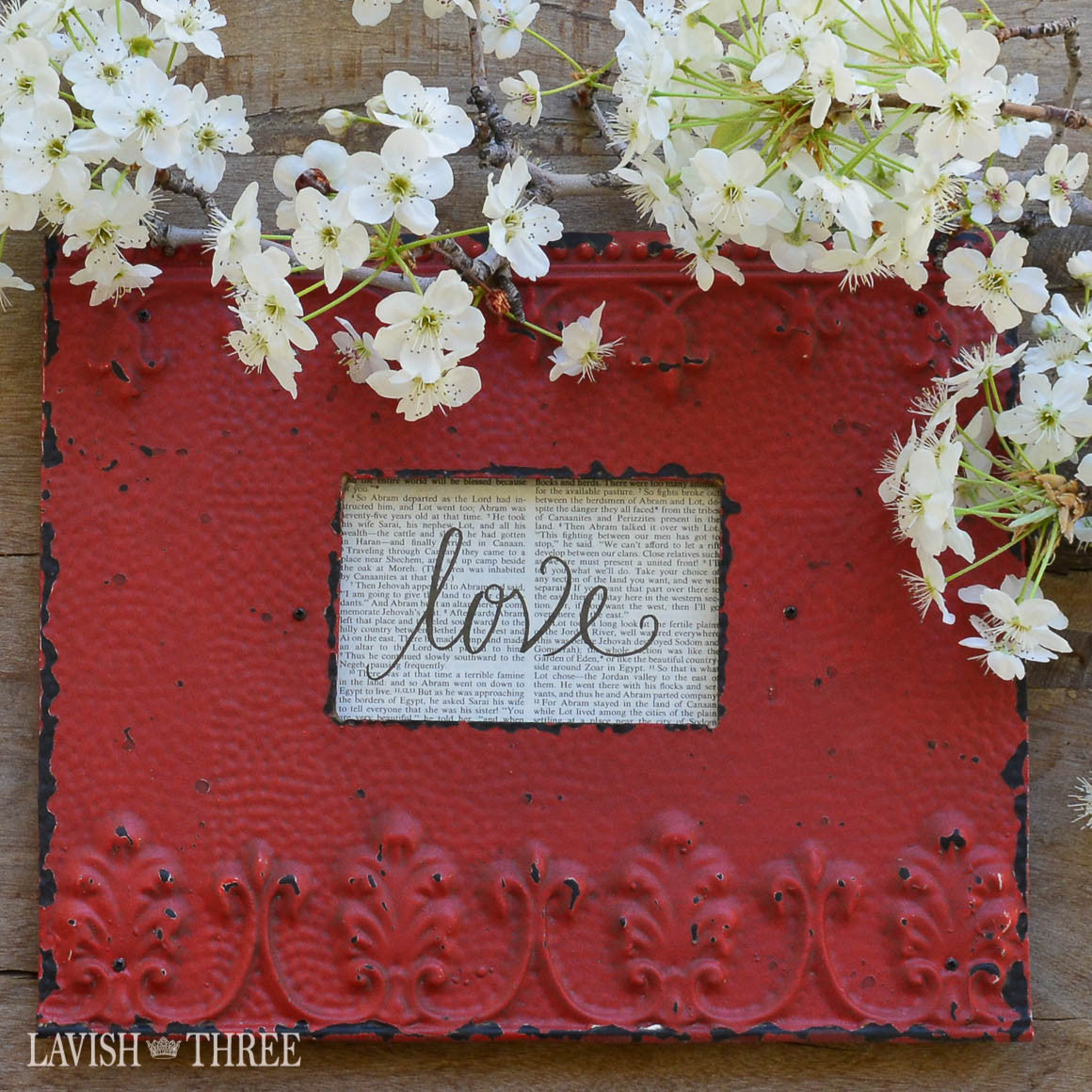 Shabby farmouse chic barn red embossed metal picture frame 3x5