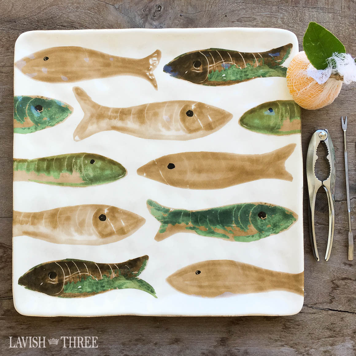 "Large 13"" square painted glazed ceramic fish fry serving platter"