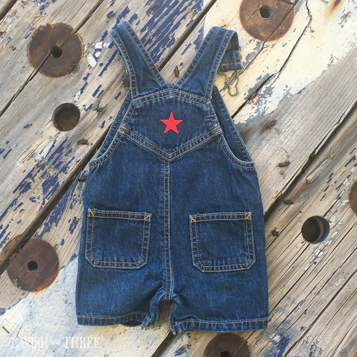 Denim overalls american flag kids baby lavish three 3