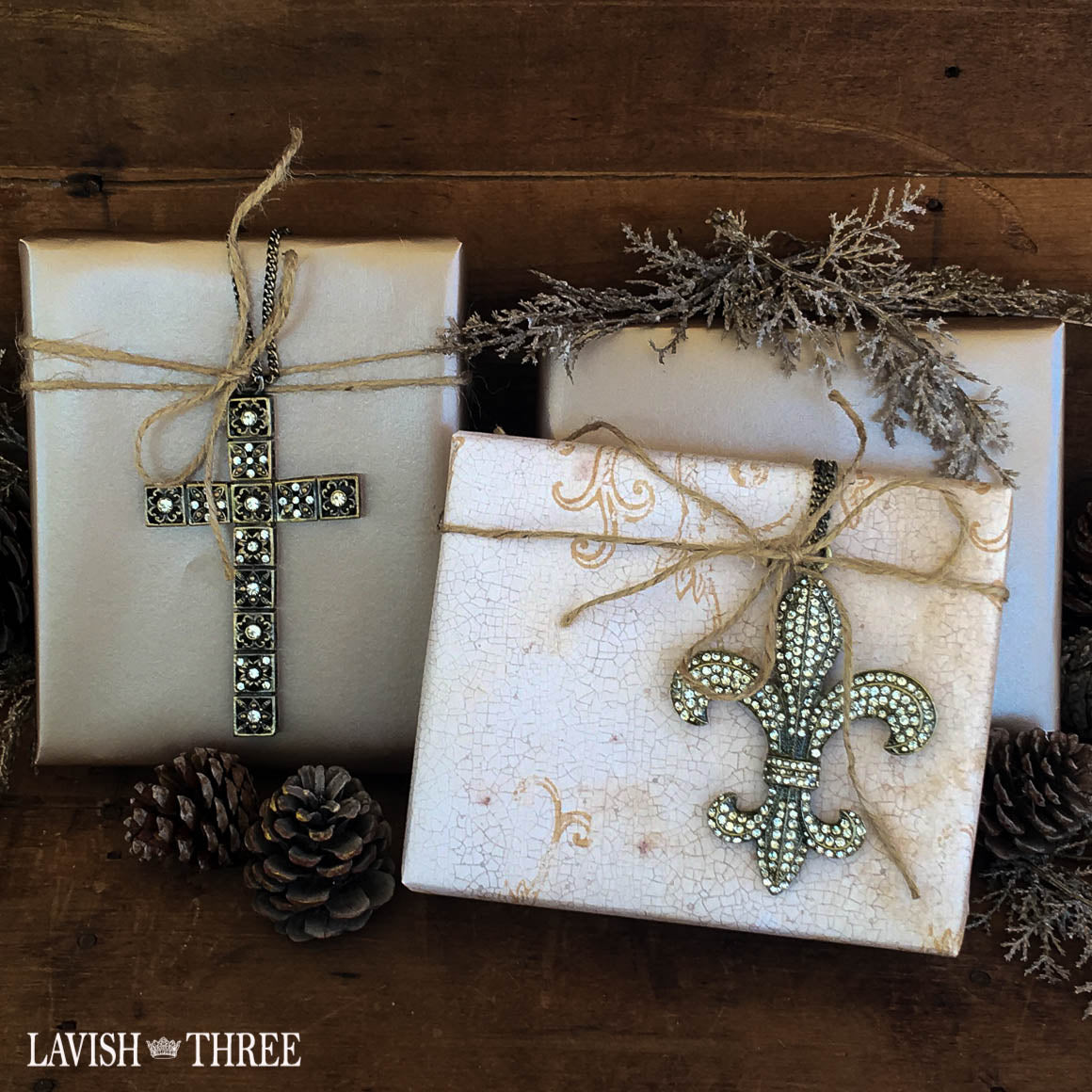 Fleur de lis ornament on chain wine bottle gift Lavish Three 3