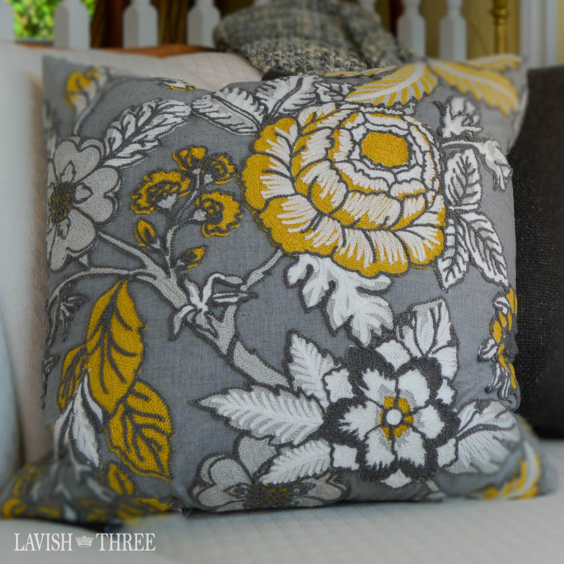 Floral  large decorative throw accent  pillow grey, yellow, white