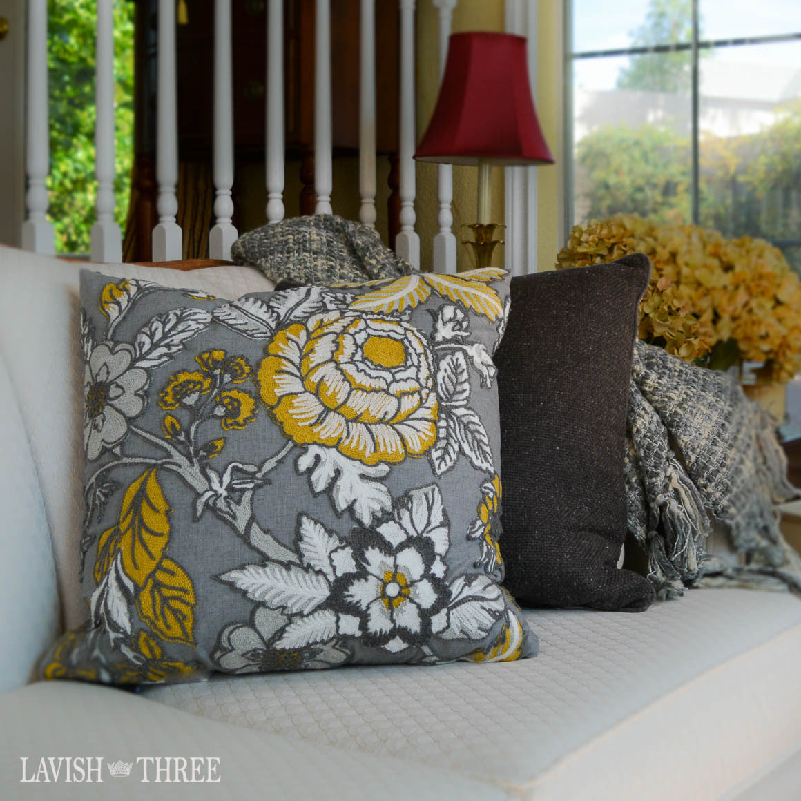 Floral large decorative accent throw pillow grey, yellow, white