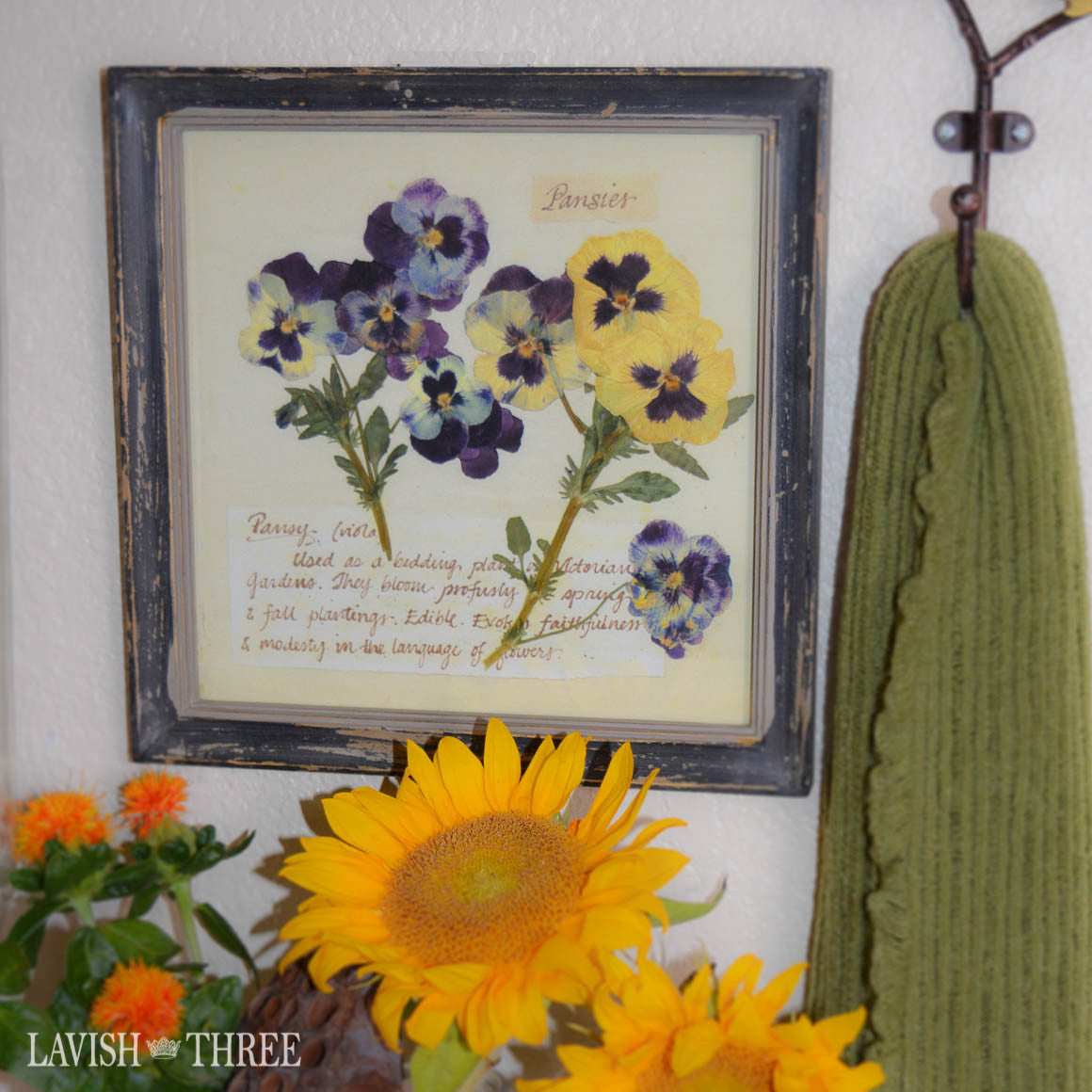 Perfect pansies flower botanical print wall art decor  in cottage chic frame