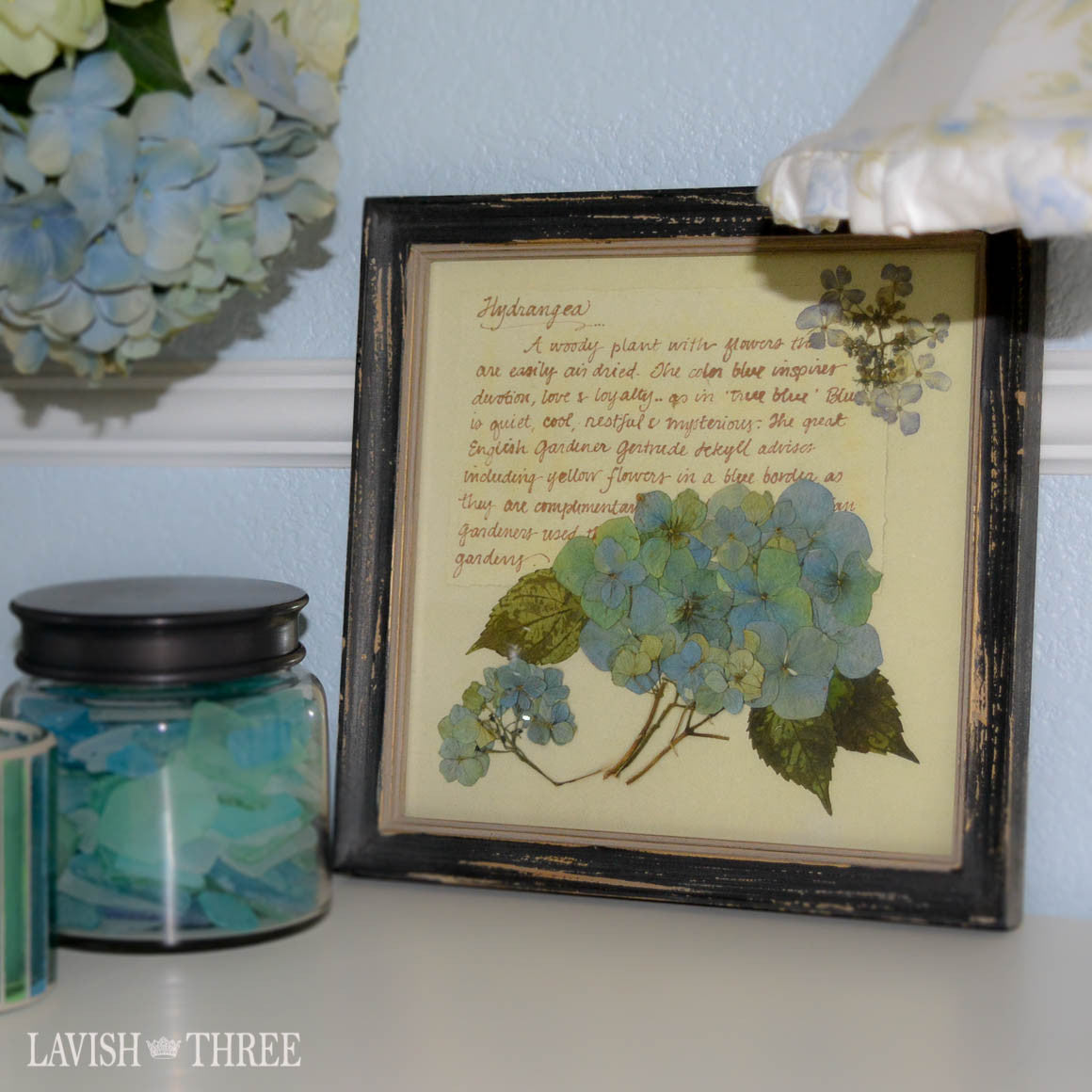 Blue hydrangea framed botanical floral print cottage chic vintage decor Lavish three 3