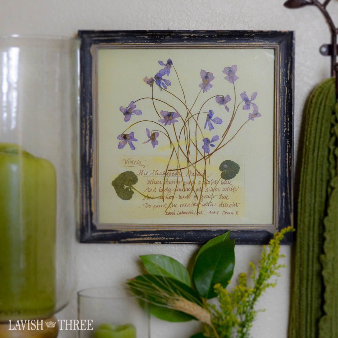 Violet vintage floral botanical print in cottage chic wood framed wall art decor