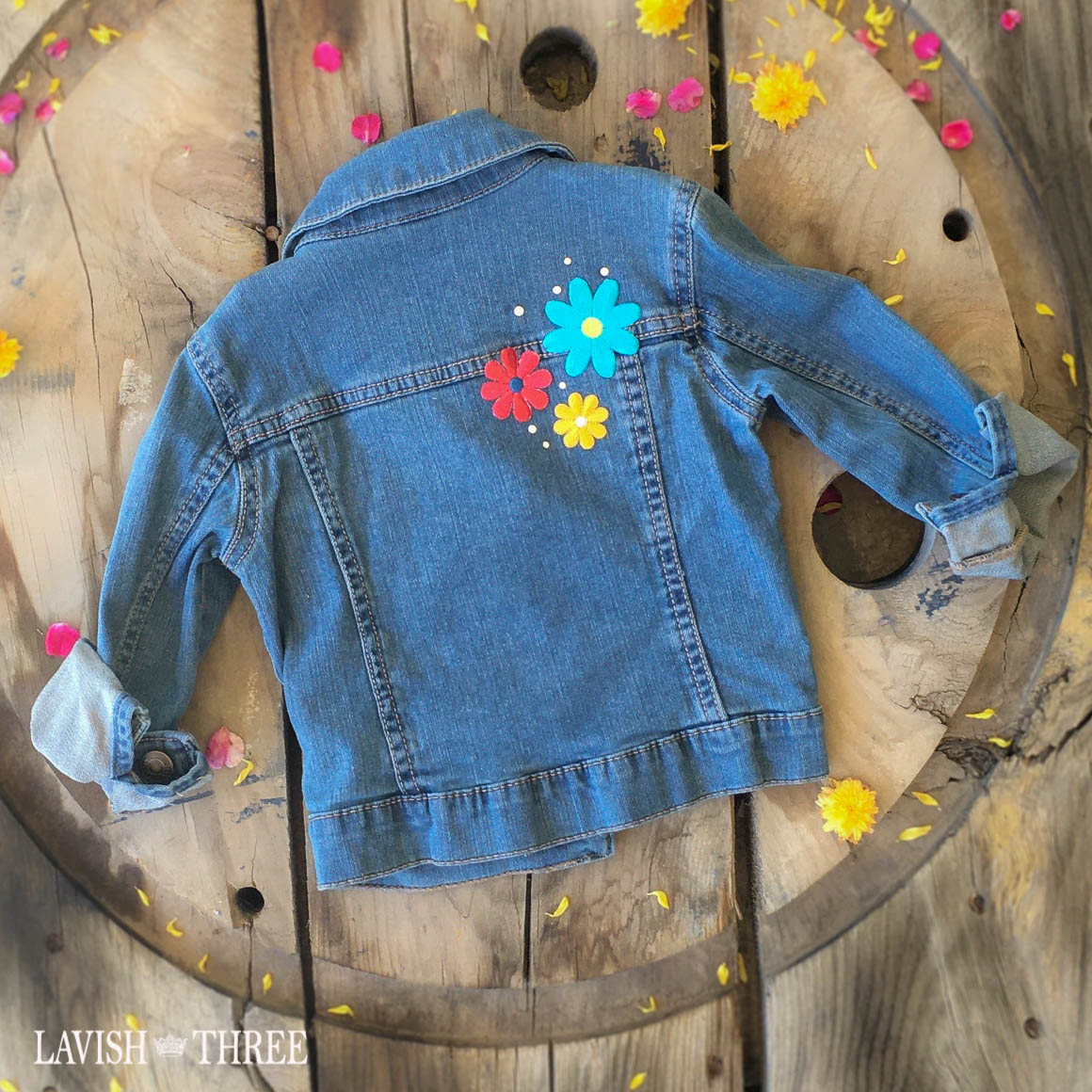 Light wash denim jacket little girls flower patch lavish three 3