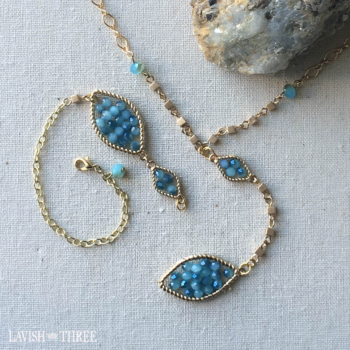 Gold necklace and bracelet set blue beaded pendant lavish three 3