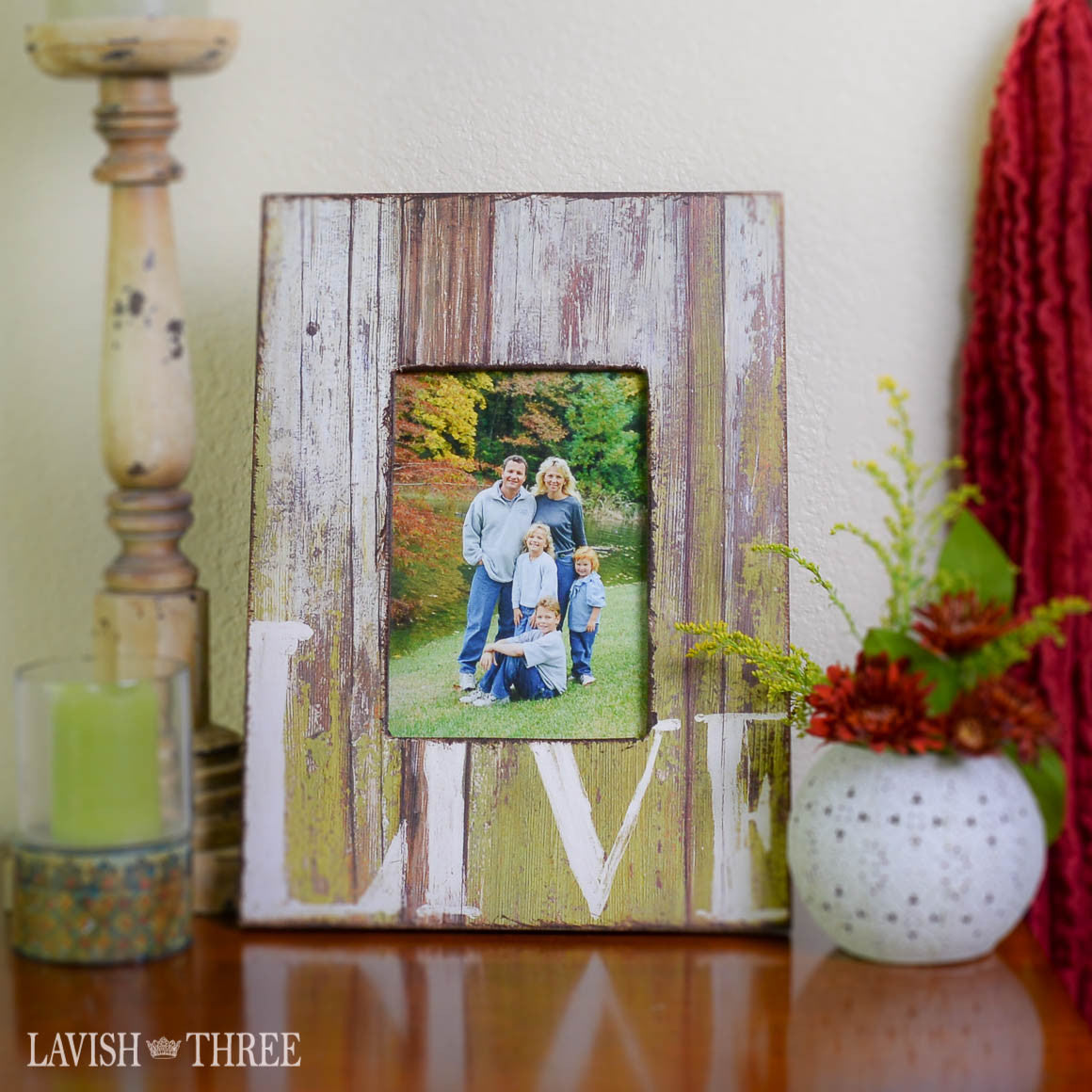 5x7 Country farmhouse distressed wood frame green with LIVE painted white