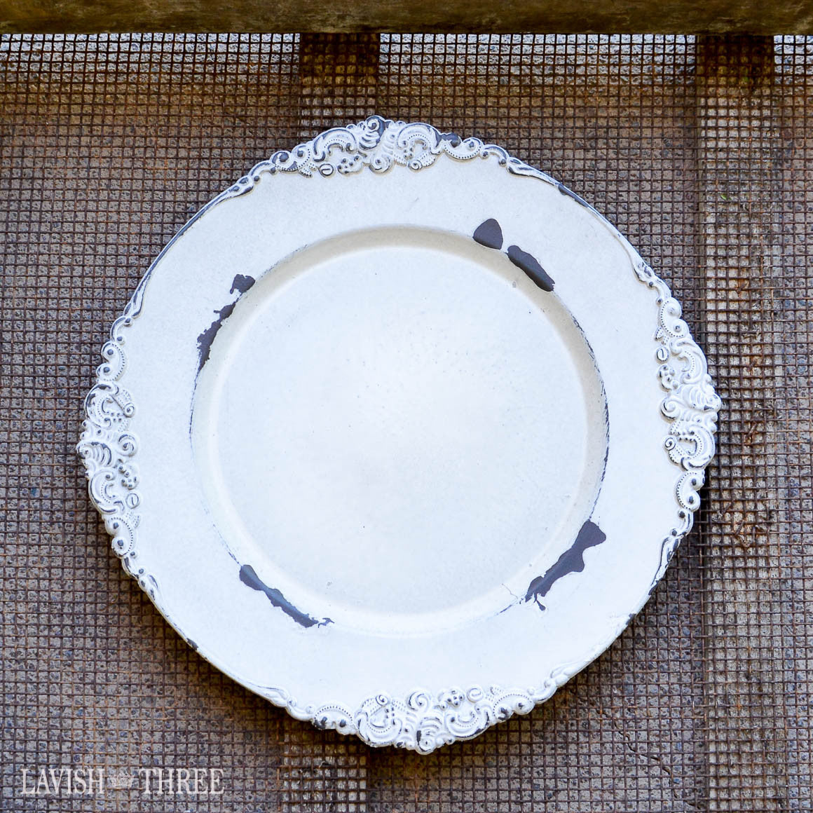 Antique white charger plate romantic victorian wedding place setting