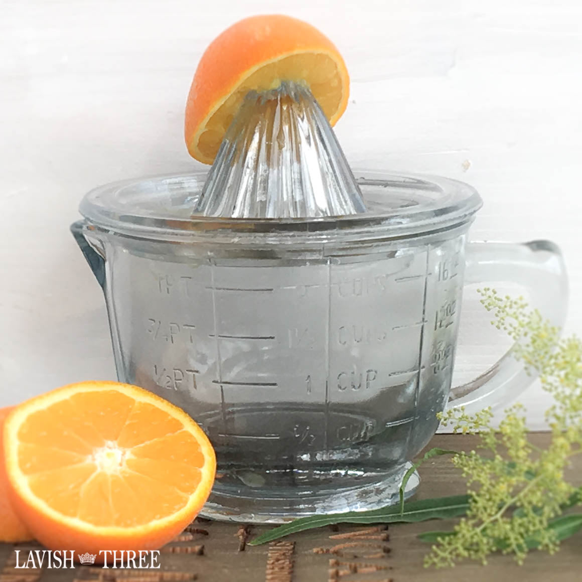 Glass tabletop orange juicer fancy lavish three 3