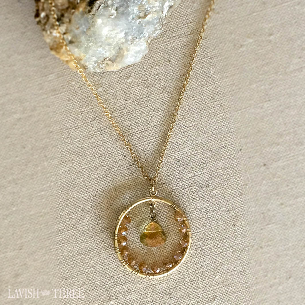 delicate gold long necklace with halo crystal pendant, Lavish Three
