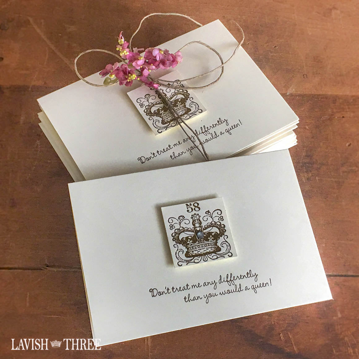 Queen royal crown stamped notecard set with envelopes, Lavish Three 3