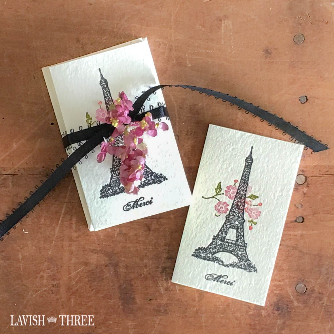 French Paris inspired stamped note cards, Eiffel tower, Lavish Three 3