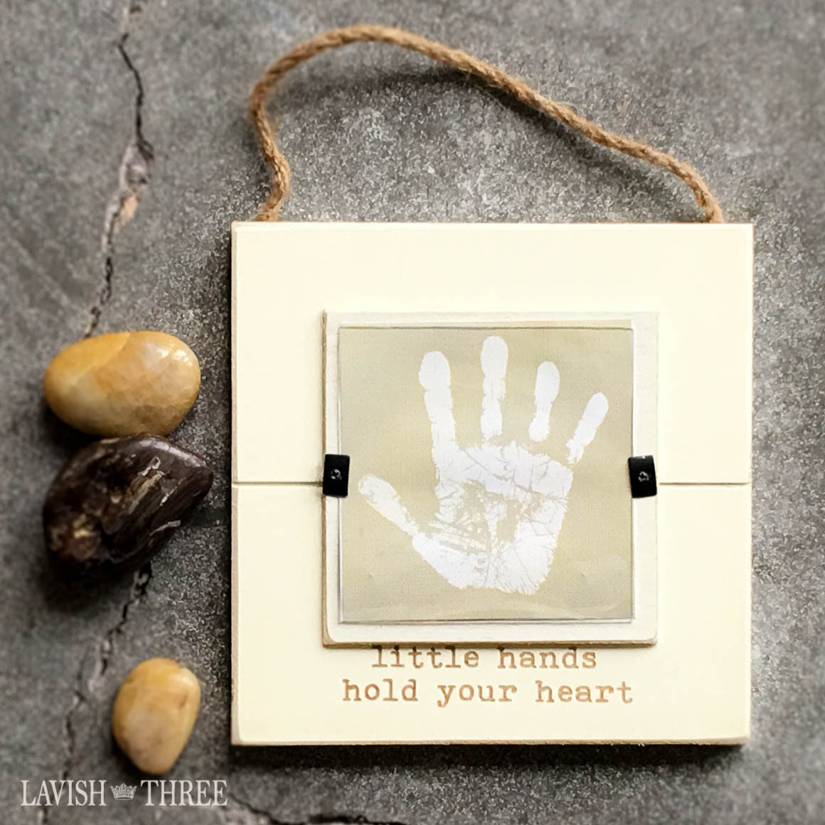 Hand print and foot print baby keepsake frame