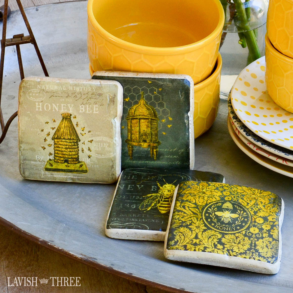 Cottage style honey bee 5 piece coaster set with stand