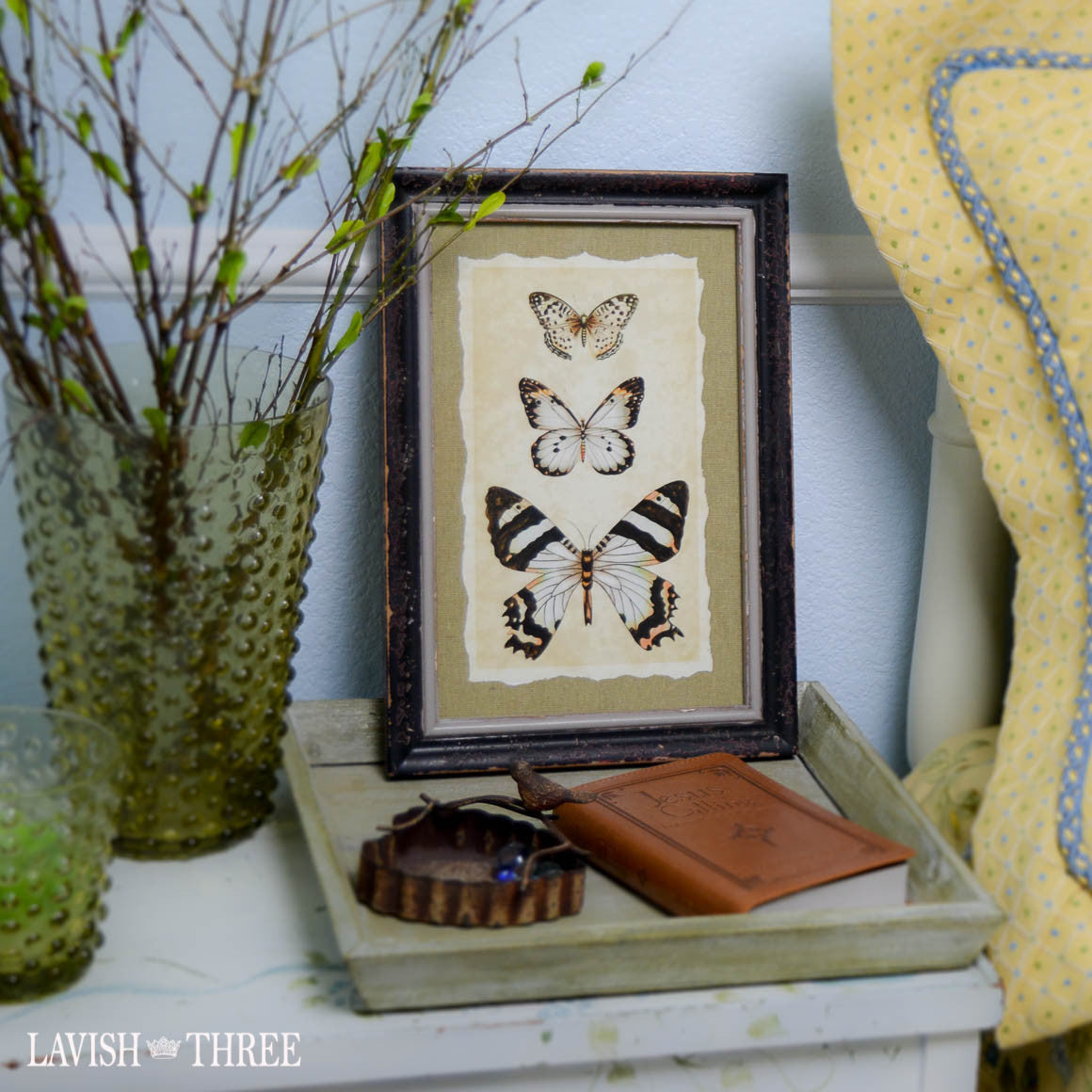 Distressed wood frame black butterfly vintage insect print wall art decor