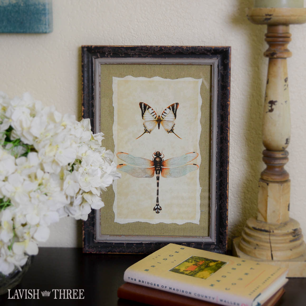 Distressed wood frame with vintage dragonfly butterfly old world print Lavish three 3