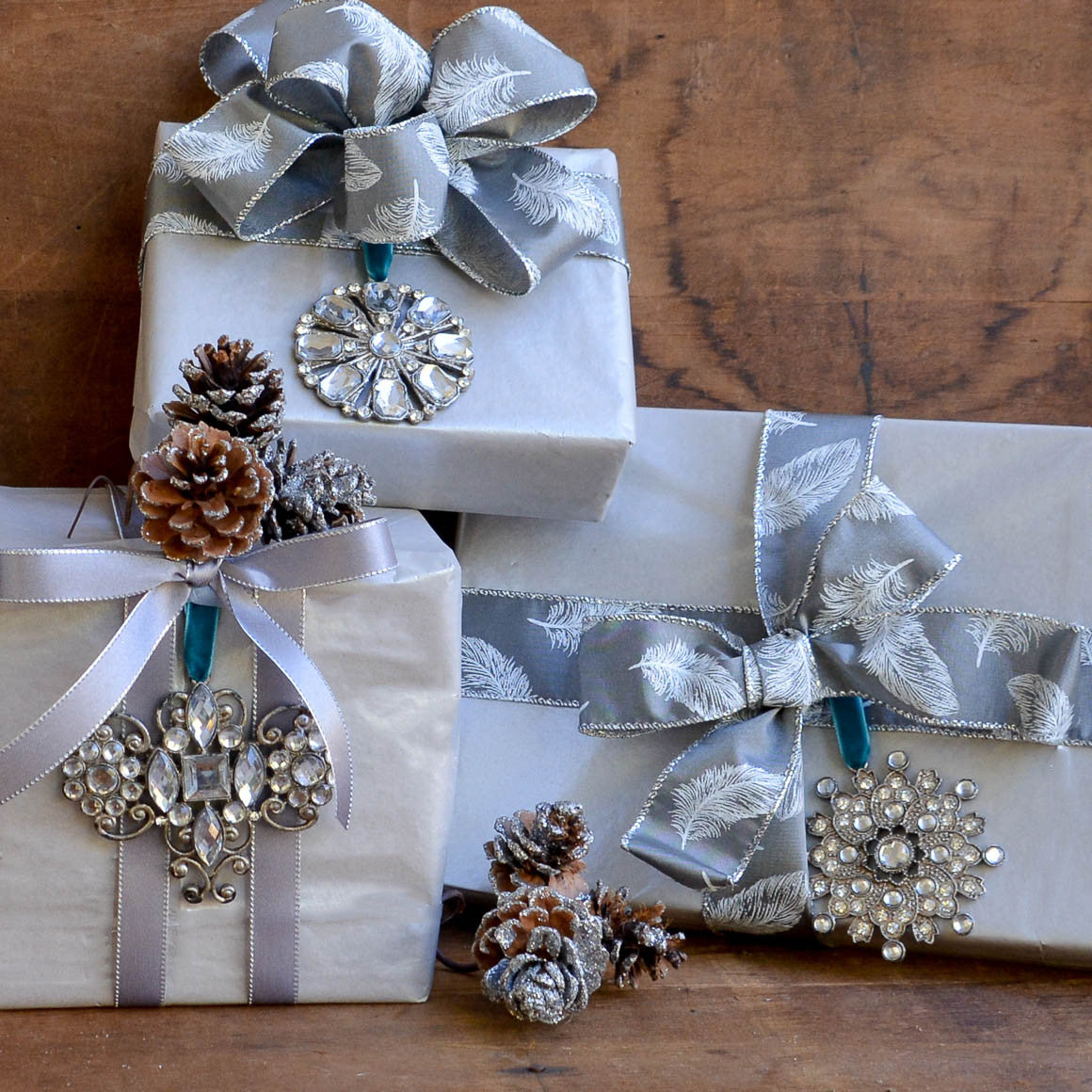 Elegant Crystal Jeweled Christmas Ornaments In Silver With