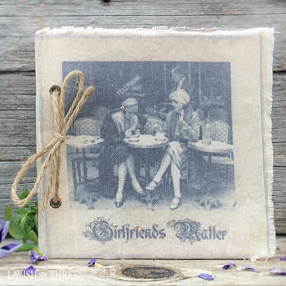 Parisian vintage fabric photo or journal Girlfriends Matter