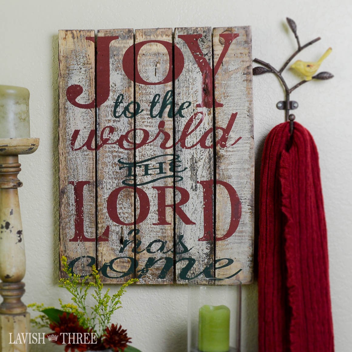 Holiday Joy to the world the Lord has come Christmas wall art painted on distressed wood
