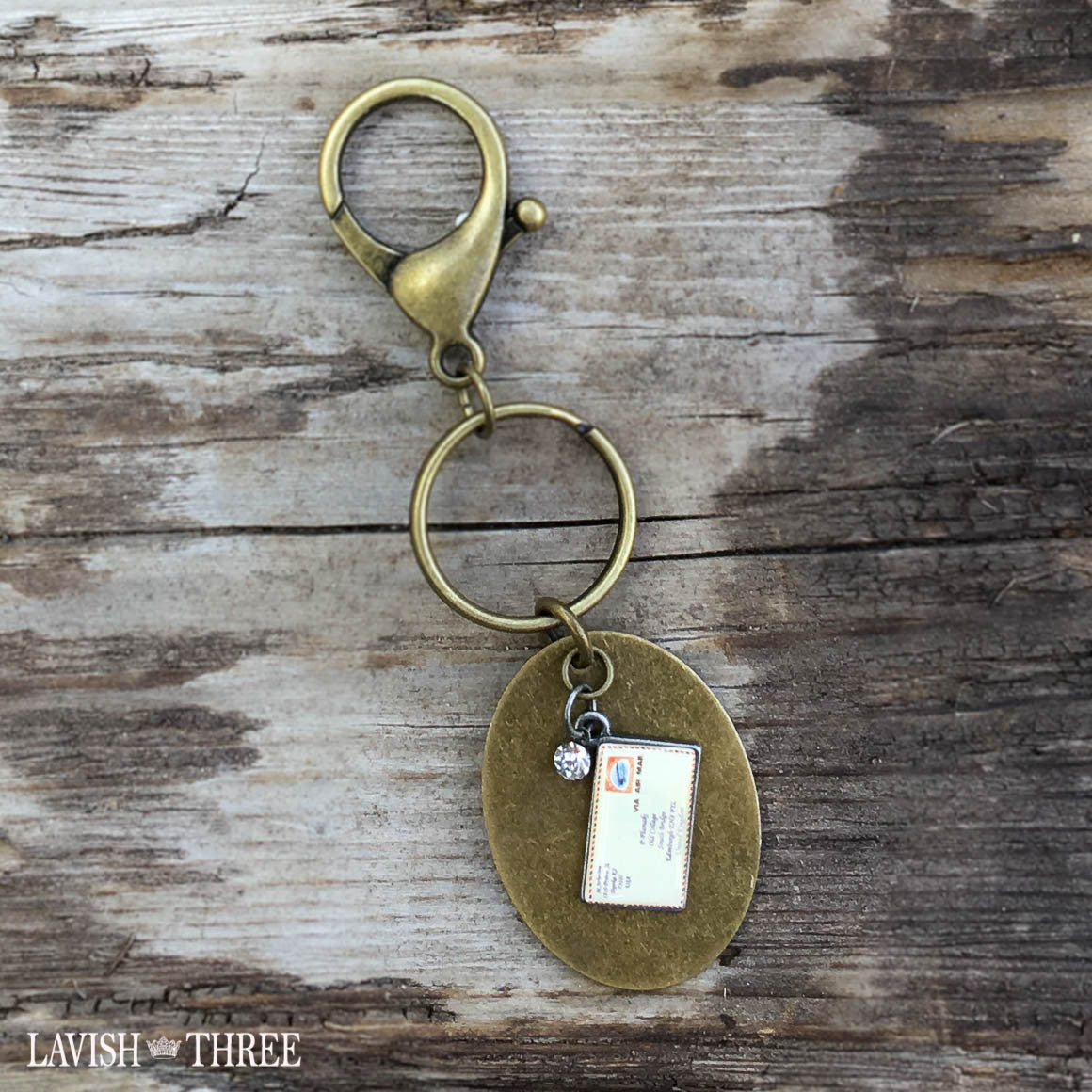 Antique brass keychain keyring postcard lavish three 3