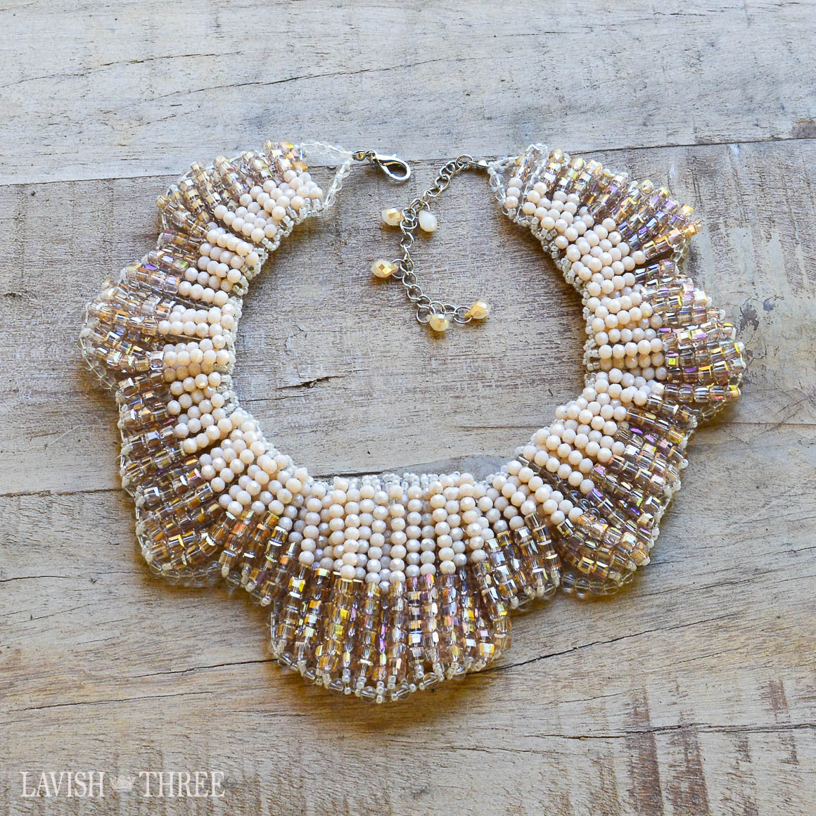 Beaded and crystal elegant collar statement necklace