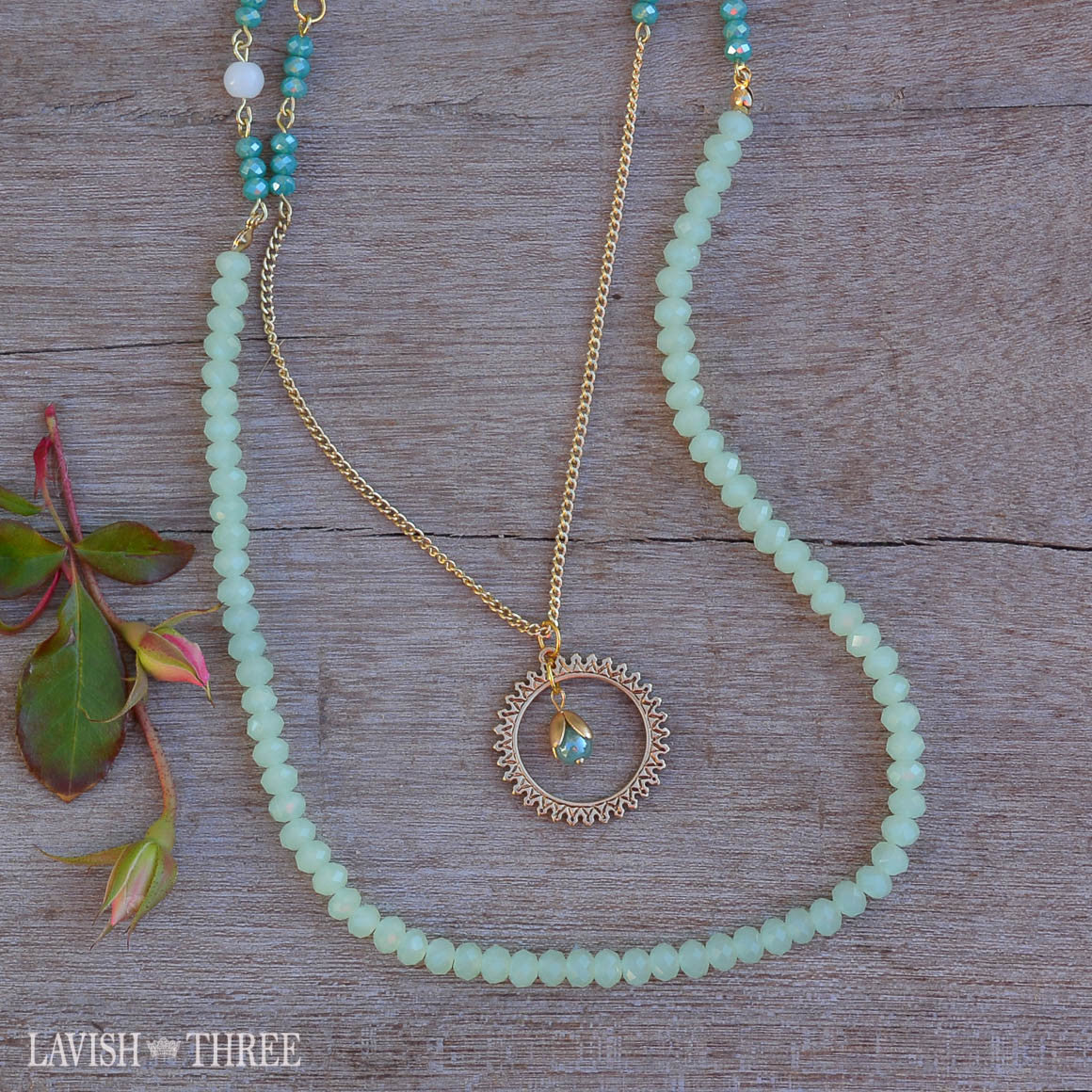 Harvest gold chain necklace, blue and green beads