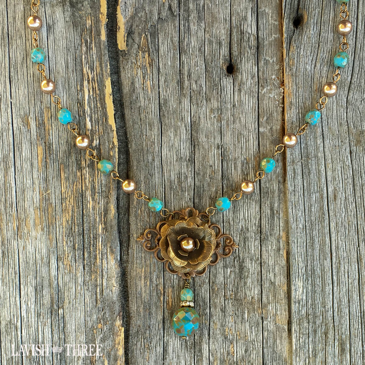 Blue vintage inspired necklace with flower pendant lavish three 3