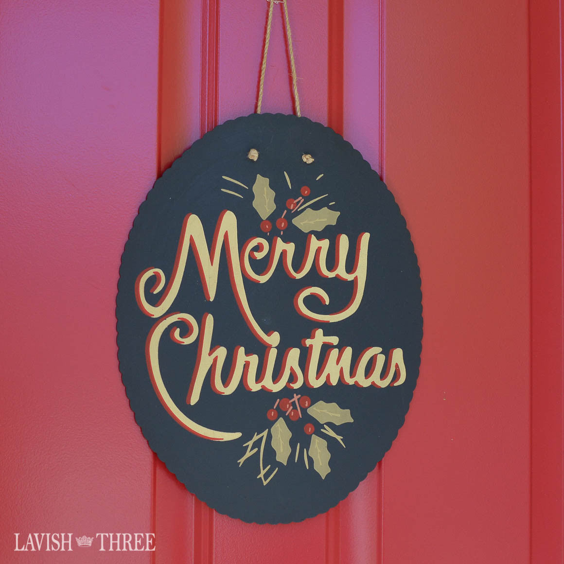 Hand painted Merry Christmas door sign wall art