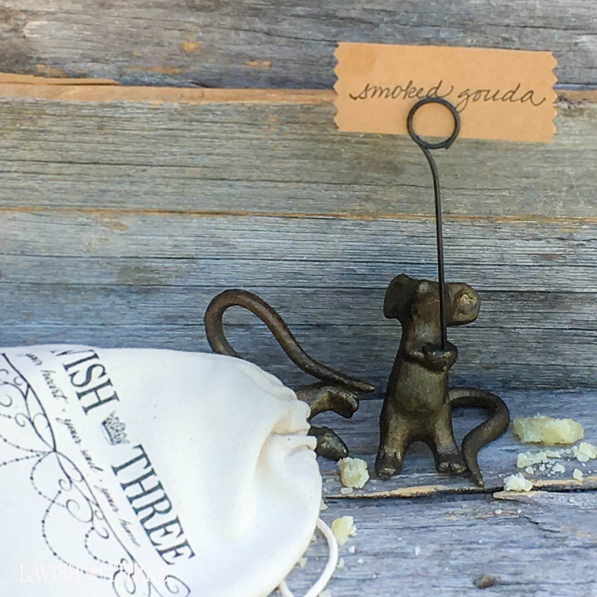 Cast iron bronze mice mouse place card sign photo holder Lavish Three 3
