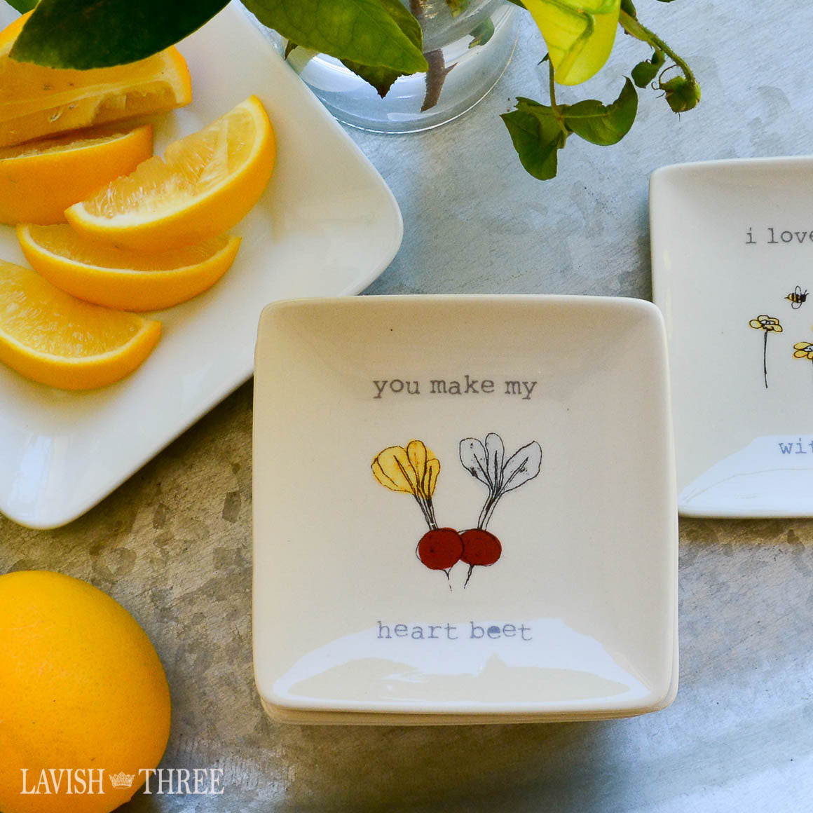 "4"" mini-plates with sayings - you make my heart beet"
