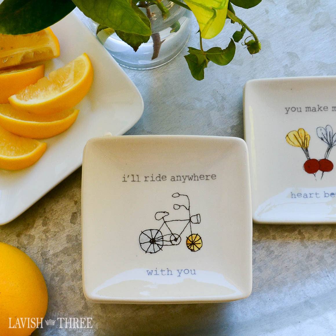 "4"" mini-plates with sayings - i'll ride anywhere with you"