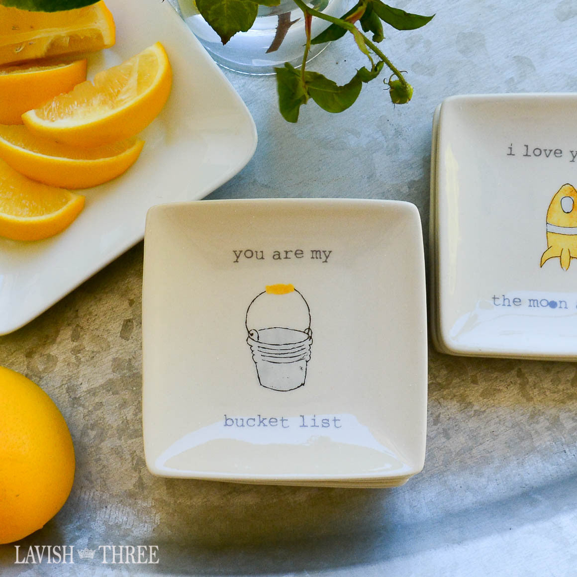 "4"" mini-plates with sayings - you are my bucket list"
