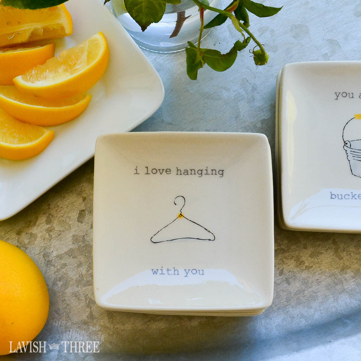 "4"" mini-plates with sayings - i love hanging with you"