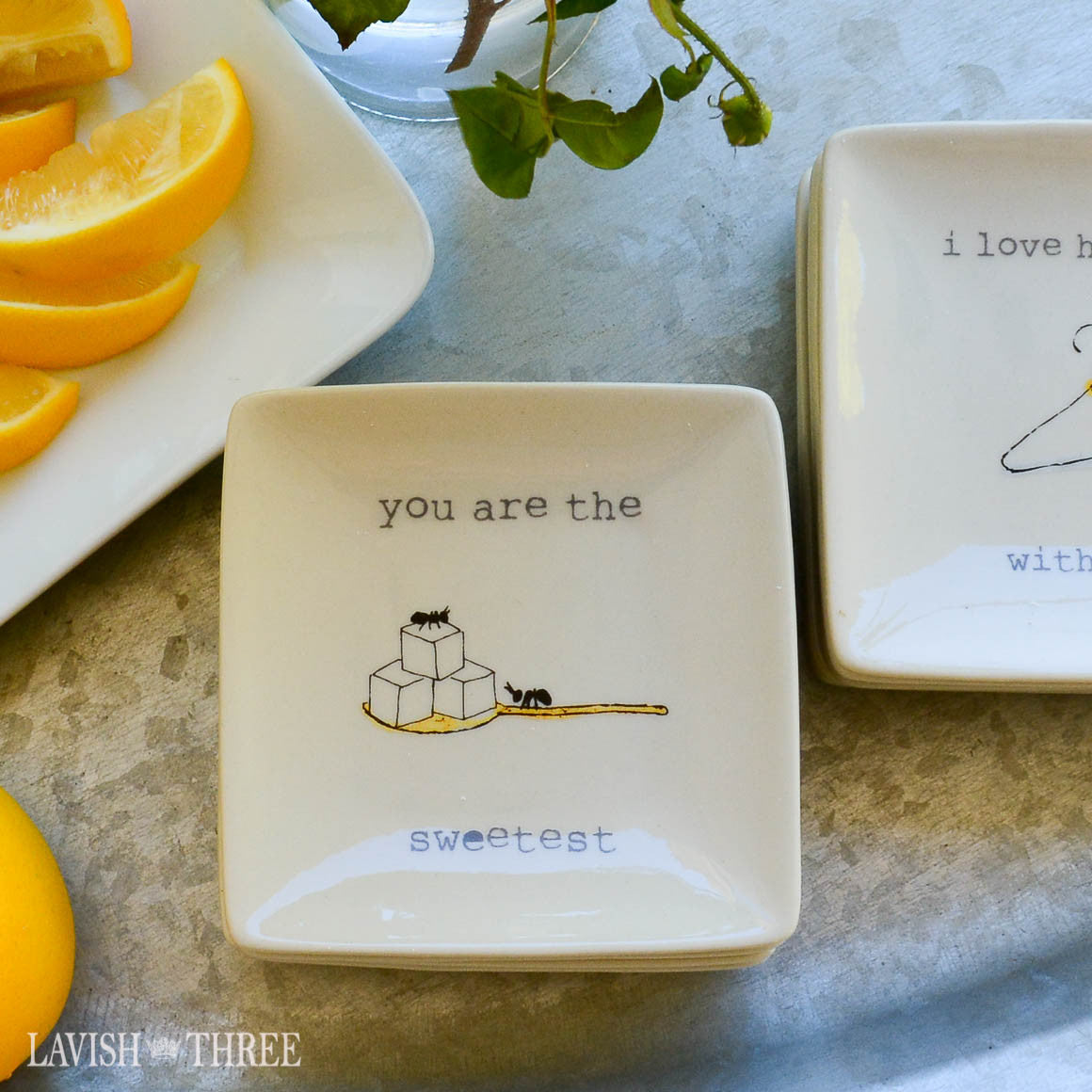 "4"" mini-plates with sayings - you are the sweetest"