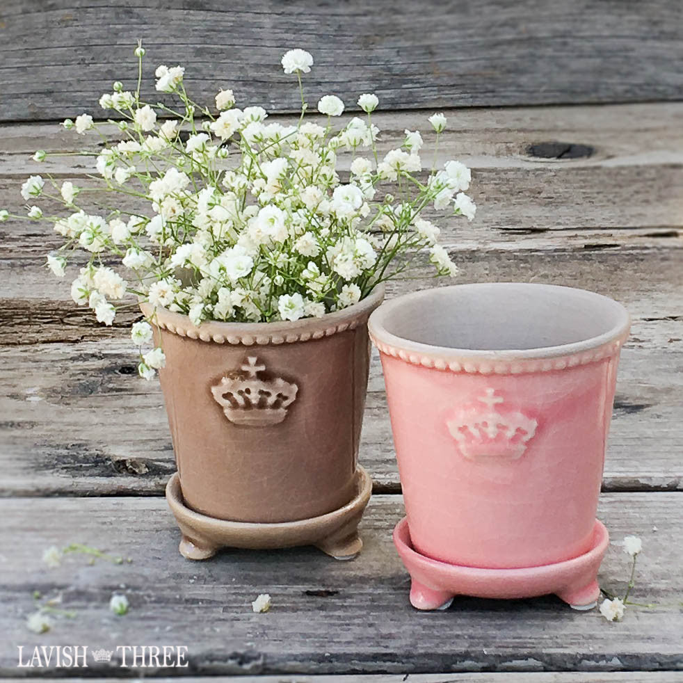 Crown mini ceramic garden planter pots pink and brown