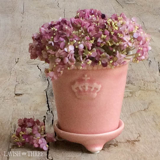 Mini crown embossed porcelain vase or candle holder planter pot