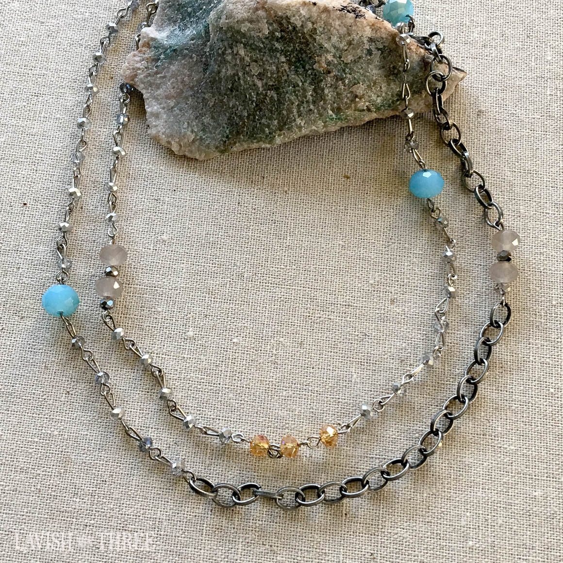 long silver necklace with blue multi colored crystal beads, Lavish Three