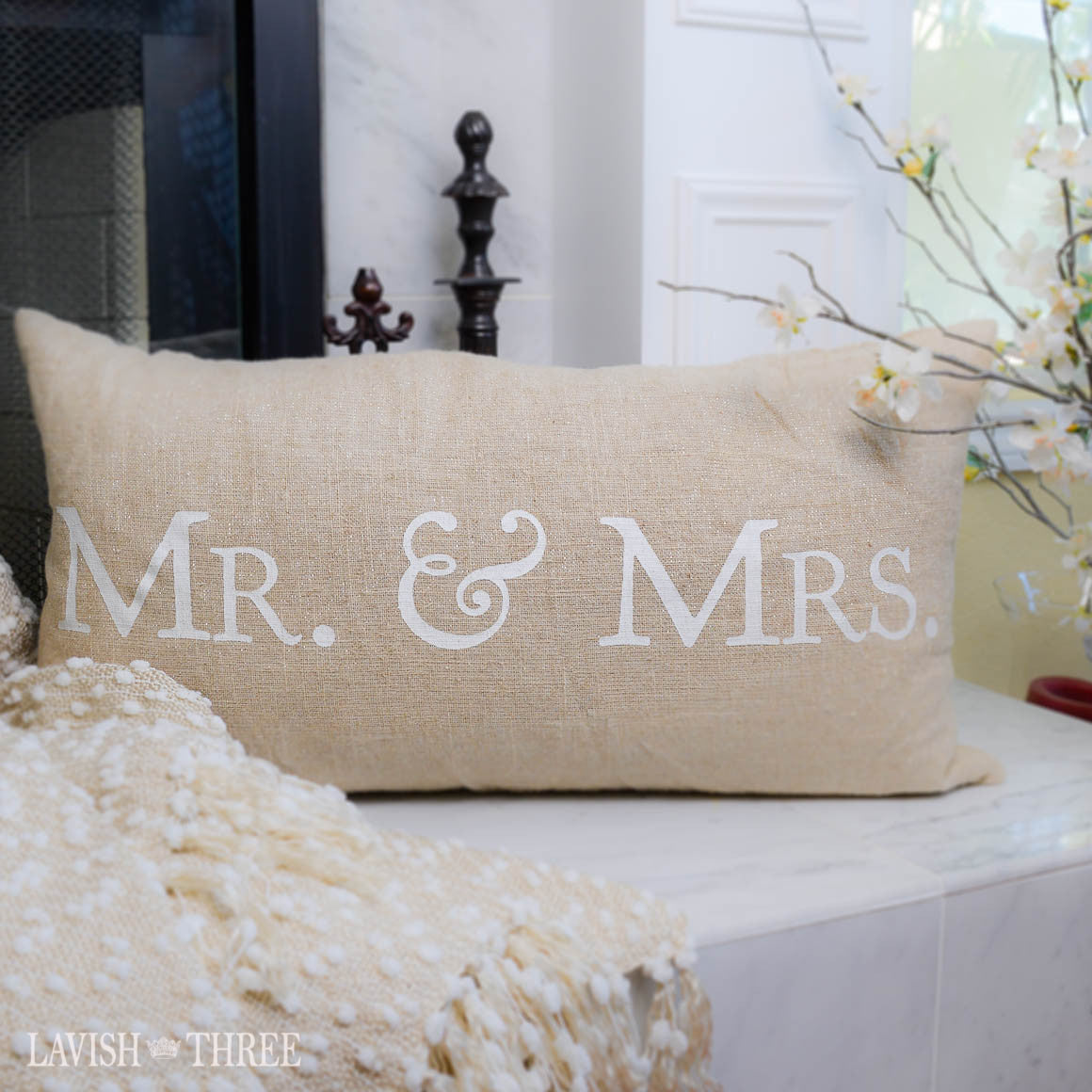 Mr and Mrs hopsack oblong pillow Lavish three 3