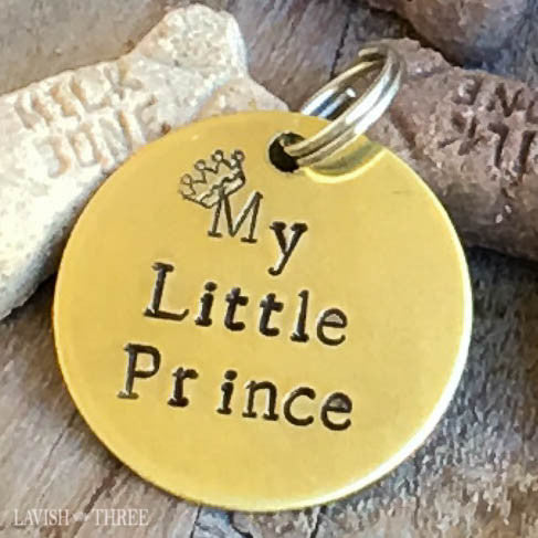 My little prince dog or cat pet tag in hand stamped brass