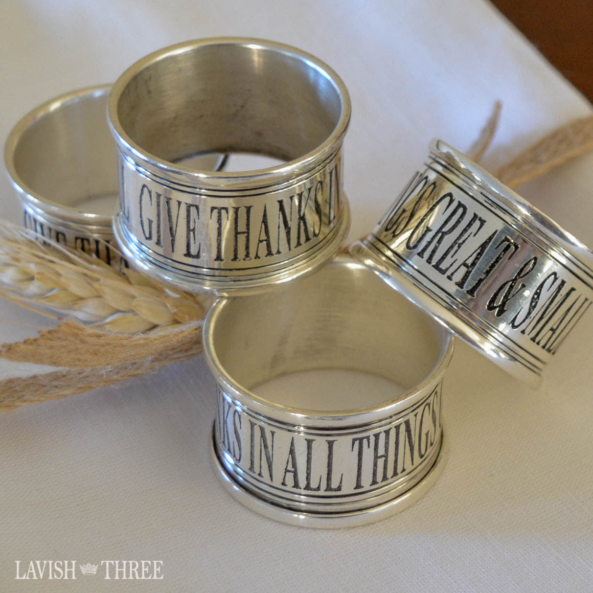 Give Thanks silver stainless steel metal elegant napkin rings