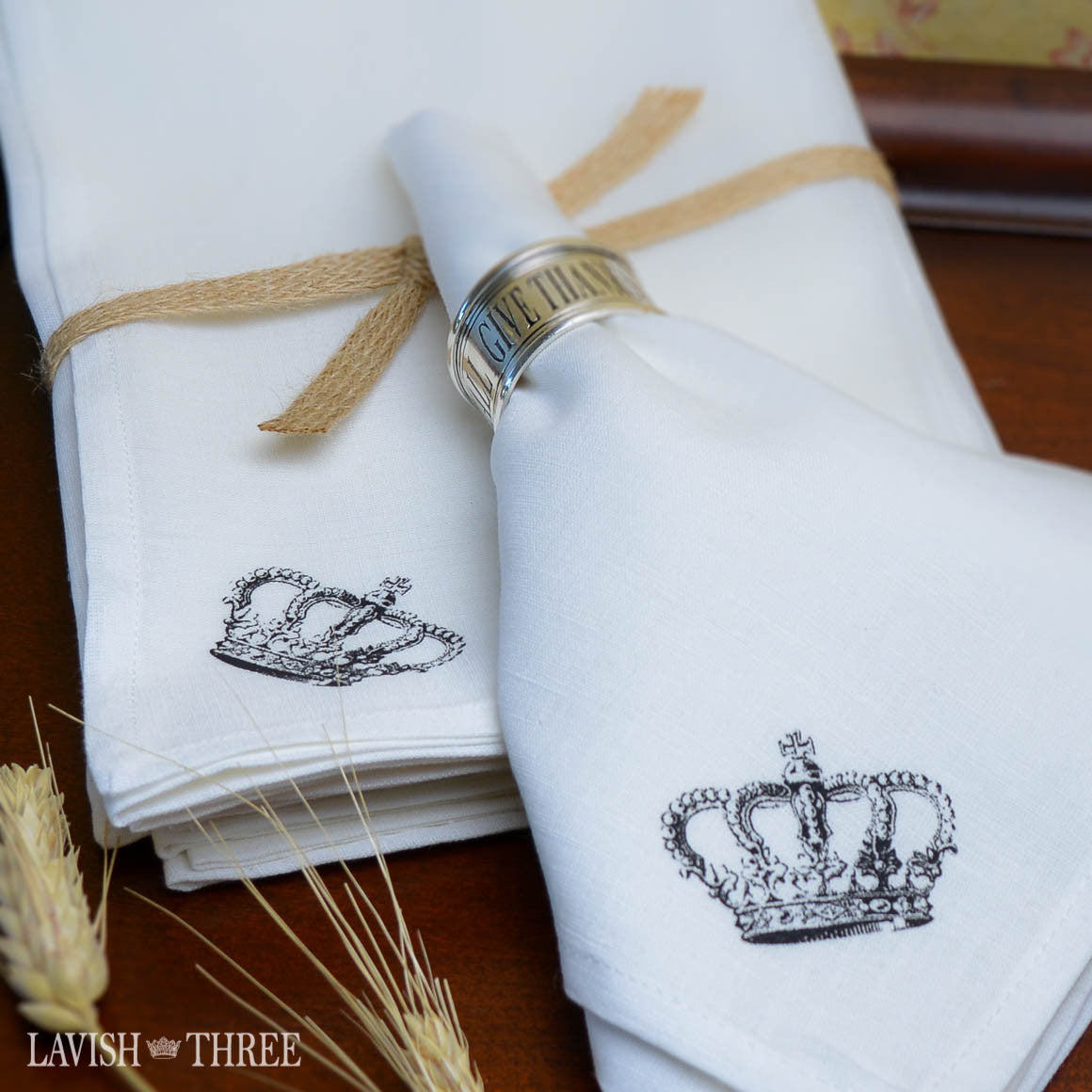 Give thanks in all things great and small silver stainless steel napkin rings