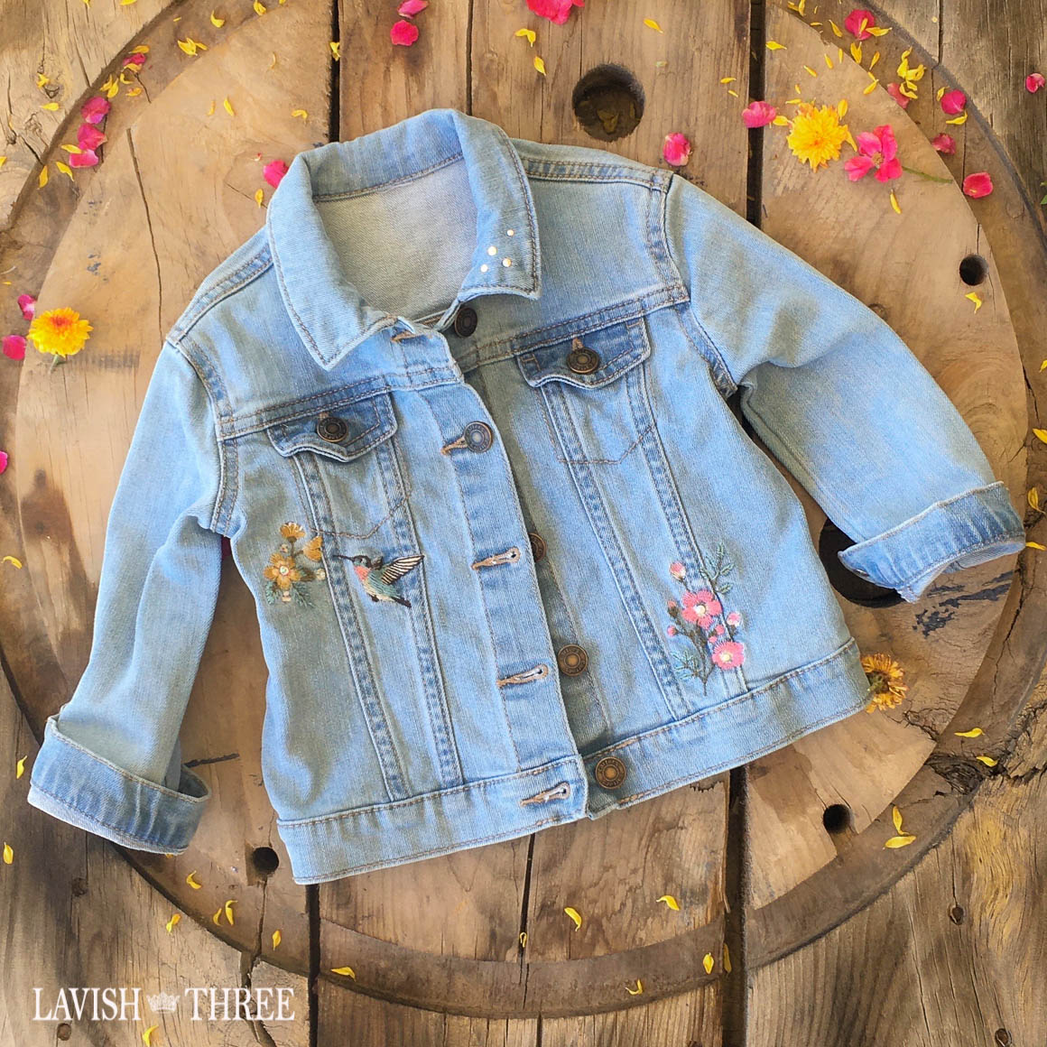 Light wash denim jacket little girls flower bird patch lavish three 3