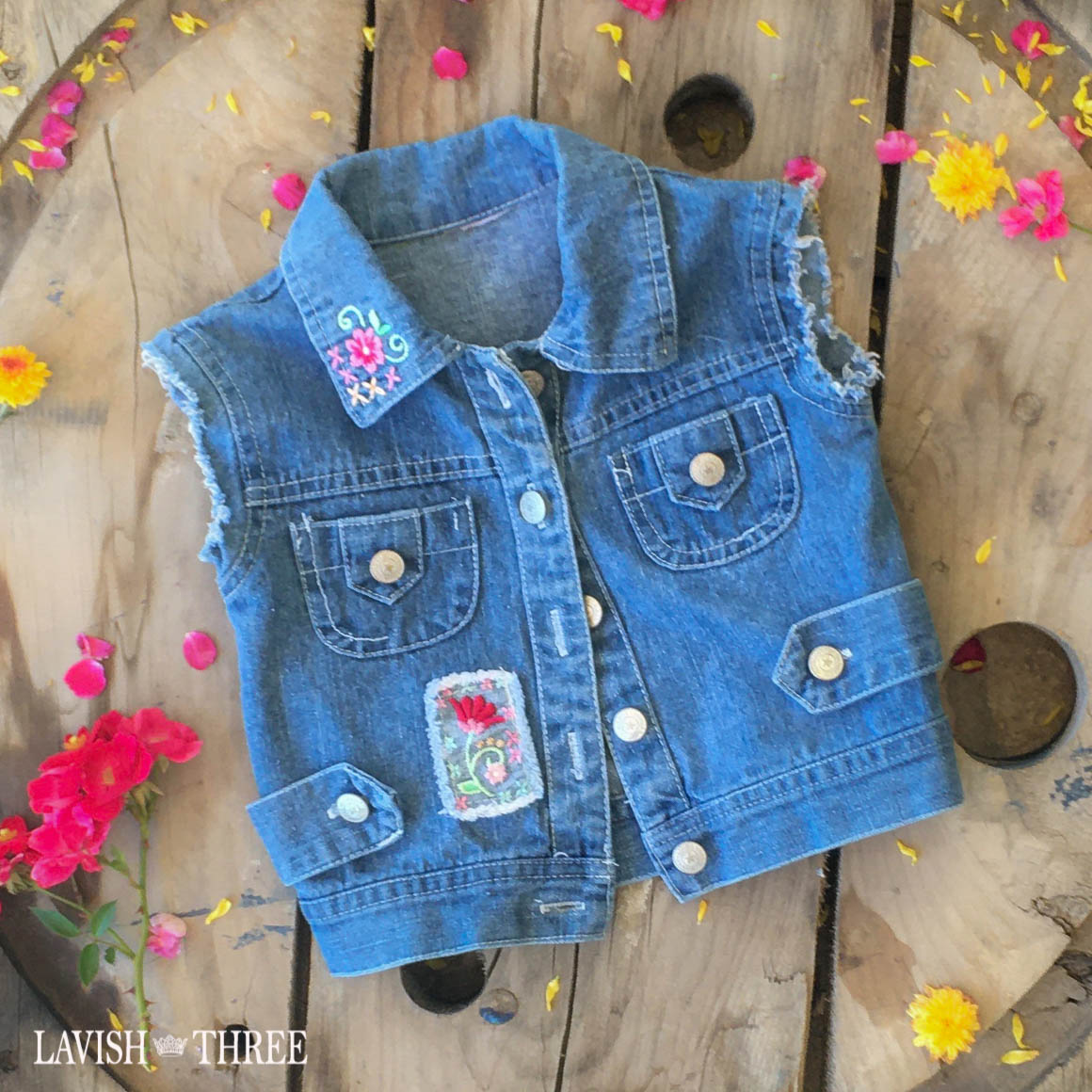 Girls denim vest patch flower lavish three 3
